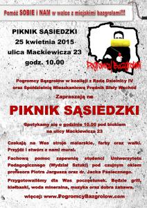 Piknik Sasiedzki kwiecień 2015 plakat-1