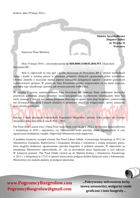 List Pogromców Bazgrołów do Ministra Sprawiedliwości-1